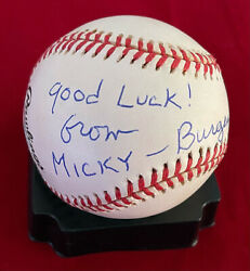 Burgess Meredith Signed Onl Baseball W/ Character Name From Rocky Rare Psa/dna