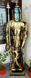 Rust Free Stainless Steel Fully Wearable Medieval Gold Templar Knight Full Suit