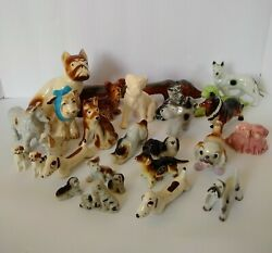 Antique Vintage Dog Figurine Lot Of 27 Ceramic And Porcelain Puppies Japan Taiwan