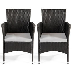 2 Pcs Patio Rattan Wicker Dining Chairs Set Black W/2 Set Cushion Covers Outdoor