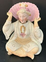 Vintage Seated Porcelain Chinese Woman Nodder Bobblehead Bell Figurine 6.25 H