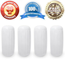 4 New Ribbed Boat Fenders 6 X 15 White Center Hole Bumpers Mooring Protection
