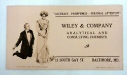 Antique Wiley. Analytical Consulti Chemist Baltimore Md Ink Blotter Paper Propos