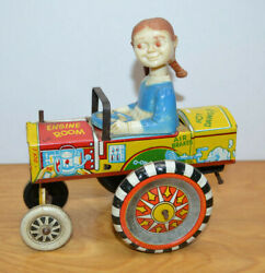 Vintage Marx Queen Of The Campus Tin Litho Car Bobble Head 1940's Antique Toy