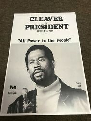 Eldridge Cleaver for President 1968 Black Panthers Sign Campaign Poster 12x18