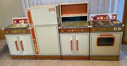 Vintage Wolverine Rite-hite Tin Litho Sink, Refrigerator, Stove/oven And Cabinet