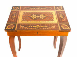Antique Vintage Italian Inlaid Music Box Table Previously Owned Jewelry Box