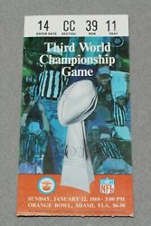 Super Bowl Iii Ticket Stub 1969 Nfl / Afl Championship Ny Jets And Baltimore Colts