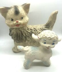 Lot 2 Edward Mobley Rubber Squeak Toys Swivel Heads Lamb And Cat 1960s Vintage