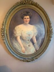 Marie Constantin 19th Century Portrait Of A Lady Oil On Panel Oval Frame