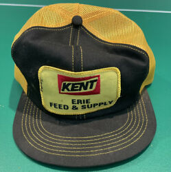 Vintage Kent Feeds Erie Feed Farm Snapback Trucker Hat Patch K-products Usa