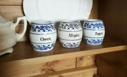 3 Vintage Blue Onion Spice Jars Made In Germanyandnbsp Cottage Decor Blue And White