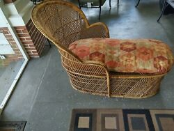 Vintage Bohemian Wicker Lounger With Cushion Peacock Local Pickup Only