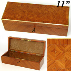 Antique French Napoleon Iii Kingwood Glove Or Document, Jewelry Box, Casket