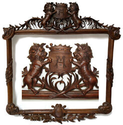 Antique Black Forest Style Carved 28 Picture Frame, Lions And Royal Crown Topped