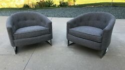 Fabulous Pair Of Milo Baughman Style Club Chairs W/ New Upholstery Mid Century