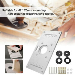 For Woodworking Benches Aluminum Router Table Insert Plate W/ 4 Rings Screws Usa