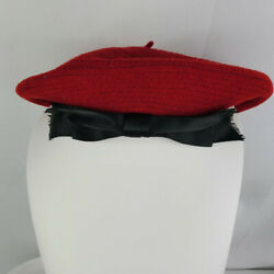 Vintage Early 80s Red Wool Beret W Black Satin Bow