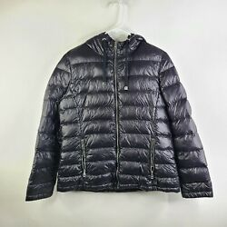 Andrew Marc Black Packable Lightweight Hooded Premium Down Puffer Jacket Size L $31.50