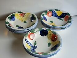 Vintage Dansk Pottery Hand Painted Lot Of 8 Bowls 10.25''w2.25'' T