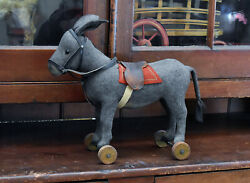 Antique Steiff Felt Donkey Pull Toy With Button