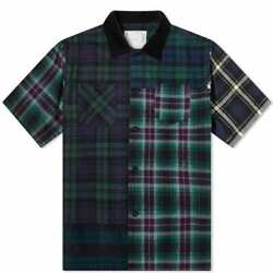 Sakai Sacai Flannel Plaid Mixed Shirt Tops Mens Man Import Brands From Small To