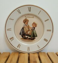 Vintage M.j. Hummel Two Figure Gold Gilded Battery Operated Ceramic Plate Clock