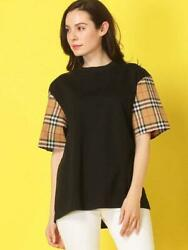 Checked Sleeves Switching T-shirt