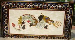 Black Marble Dining Side Table Top Mother Of Pearl Dragon Inlay Art Decors H2066