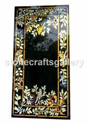 Black Marble Dining Table Multi Stone Floral Bird Inlay Arts Kitchen Decors B041