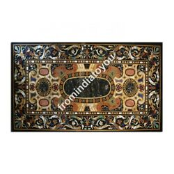 4and039x2and039 Black Marble Dining Top Table Scagliola Inlay Handmade Kitchen Decors E975