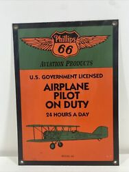 Phillips 66 Boeing 40 Airplane Pilot On Duty Porcelain Metal Wall Sign