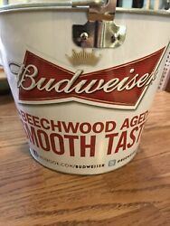 Budweiser Metal Beer Ice Bucket Pail Double-sided New