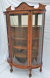 American Tiger Oak Bowed Bent Glass China Cabinet Curio Claw Feet 1890s Restored