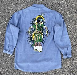 Vintage Hand Painted Embroidered Chambray Shirt Native American Indian 50s 60s