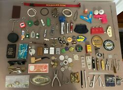 Large Vintage Junk Drawer Lot Knives Tools Keychains Lighters Coins 100 + Items
