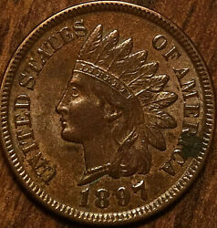 1897 Usa Indian Head Penny Small Cent - Beautiful Lightly Lustrous Example