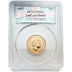 Great Britain 2002 Sovereign With Seal Reverse Gold Pcgs Ms66 Sku 525