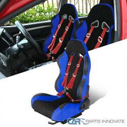 Driver Side Blue Suede Pvc Leather Racing Seat+red 4 Point Cam Lock Seat Belt