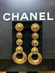 Auth Vintage Gold Circle Drop Dangle Earrings Used From Japan F/s