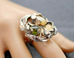 Ring Sterling Silver Peridot Milk Opal Coffee Opal Ring One-of-a-kind Chicolly