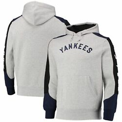 New York Yankees Mitchell And Ness Fusion Fleece Pullover Hoodie - Gray