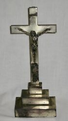 Large Antique 1902 Sterling Silver Crucifix Class Of 1902 St. Cecilia School Nj