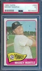 1965 Topps Mickey Mantle Card 350 New York Yankees Excellent Ex Psa 5
