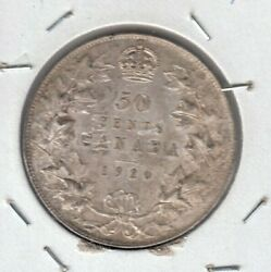 1920 Canada Fifty Cent Silver Coin - Large O