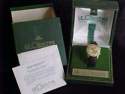 Vintage 14 Kt Solid Gold Lecoultre Memodate Fluted Bezel And Double Box Set Rare