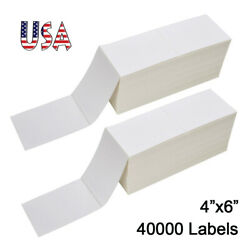 40000 Fanfold 4x6 Direct Thermal Barcode Shipping Labels For Zebra Rollo Ups