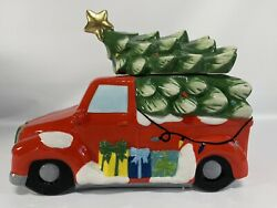 David's Cookie Jar Holiday Farmhouse Red Truck With Green Christmas Tree Rare