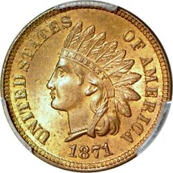 1871 1c Shallow N Fs-901 Indian Head Cent Pcgs Ms64rb 8004