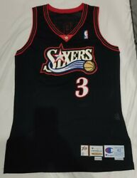 Nba Game Issued Jersey Champion Vintage Allen Iverson Signed Auto 76ers 42+2